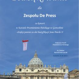 Podziękowania za koncert papieski w Garwolinie